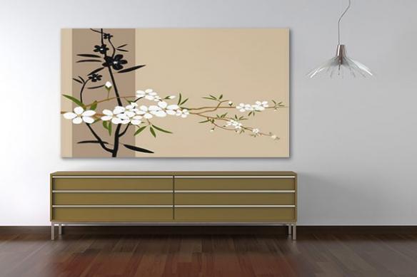 Tableau décoration fleur japonaise