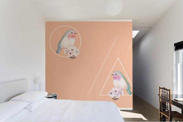 Papier peint oiseaux moineaux