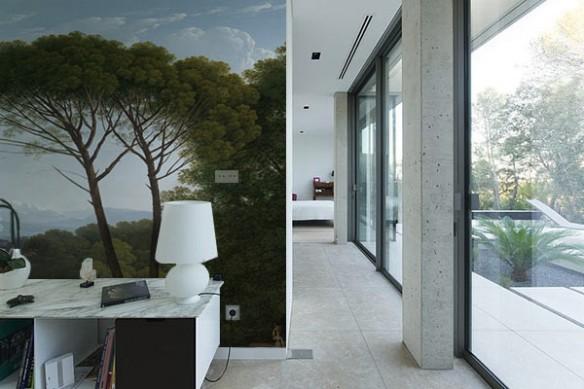 papier peint salon moderne arbre