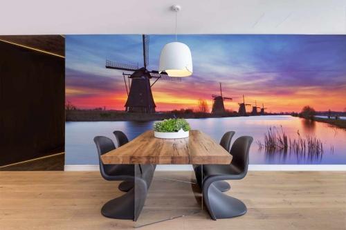 Tapisserie murale Moulin coucher de soleil