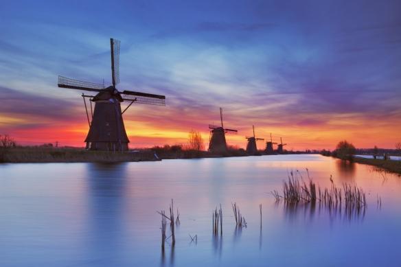 poster xxl moulin coucher de soleil