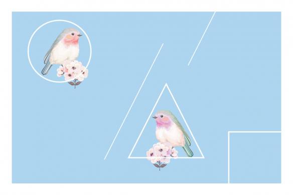 cadre déco oiseau Moineaux bleu