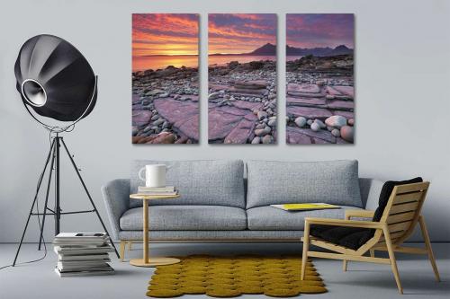 tableau triptyque plage rose