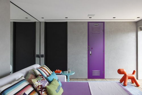 frise murale chambre casier école violet