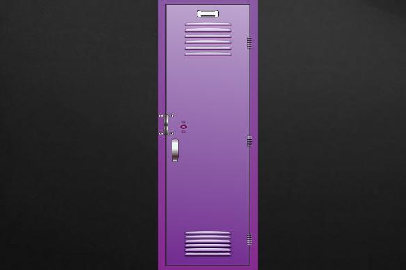 casier d'écolier violet