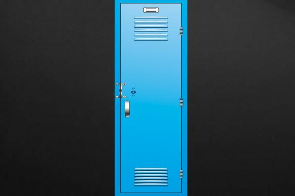 casier d'écolier bleu