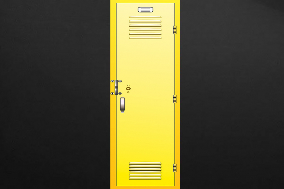 casier d'écolier jaune