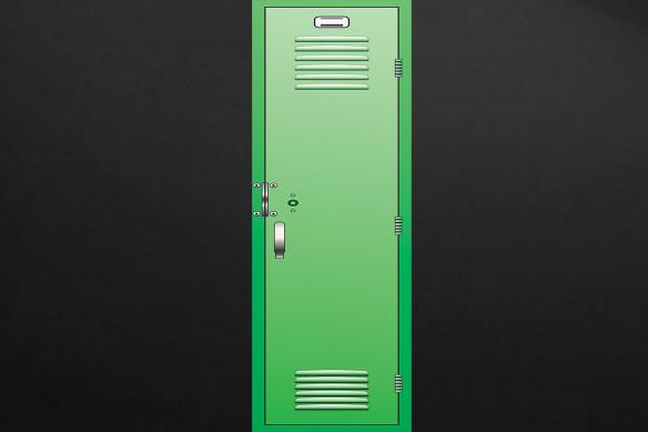 casier d'écolier vert