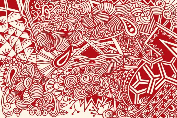 papier peint graphique rouge joyeuse pagaille