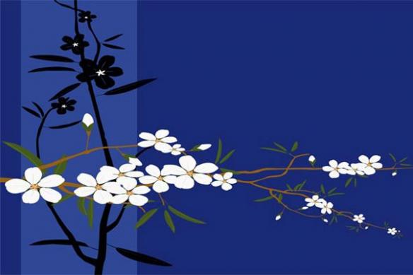 Tableau design moderne fleur bleu