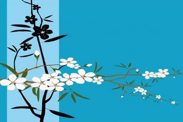 décoration murale Tableau Japan bleu ciel