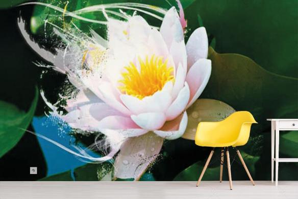 Papier Peint grosses fleurs lotus