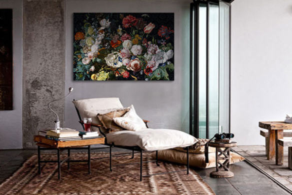 tableau déco salon bouquet de fleurs