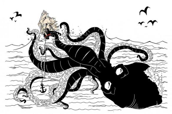 papier peint intissé noir et blanc kraken