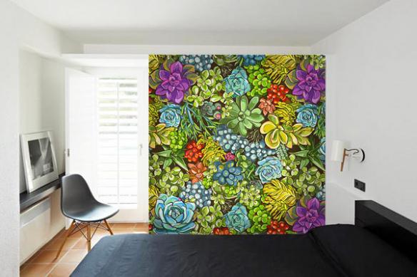 Papier peint feuillage Mur végétal
