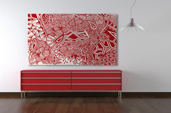 Tableau abstrait rouge Joyeuse pagaille