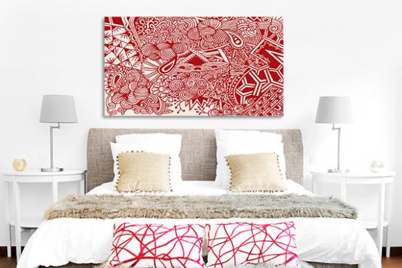 déco murale chambre adulte rouge joyeuse pagaille