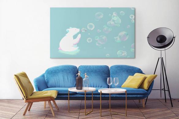 Tableau chambre bébé Ours à bulles