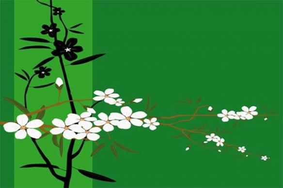 Tableau Japan décoration fleur vert