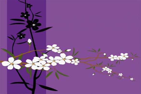 fleur japonaise décoratif tableau violet