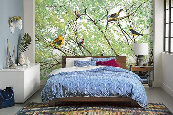 Papier peint oiseaux dans les branches