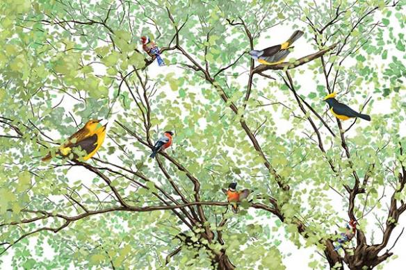 papier-peint-intissé-oiseaux-dans-les-branches