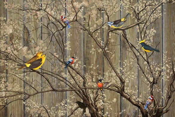 papier-peint-arbre-et-oiseaux-marron