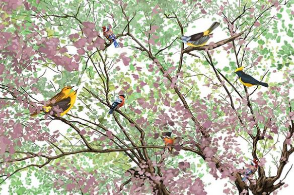 papier-peint-oiseaux-dans-les-branches-violet