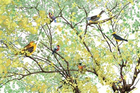 poster-mural-arbre-oiseaux-jaune