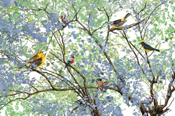papier-peint-style-anglais-arbre-oiseaux-bleu