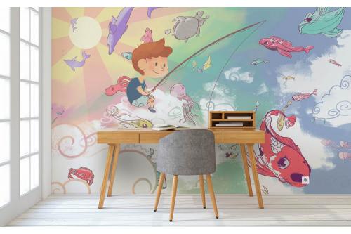 Papier peint chambre garçon pêcheur dans les nuages