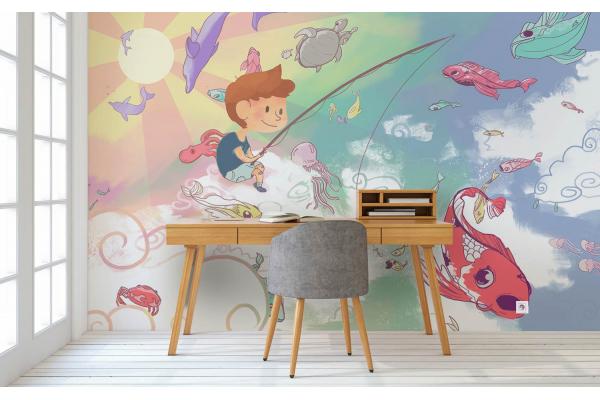 Papier Peint Enfant Pêcheur Dans Les Nuages Izoa