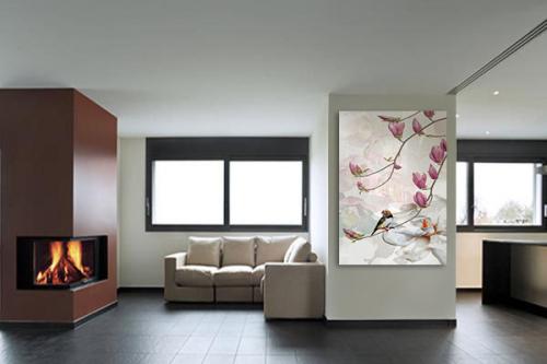 Tableau oiseau et fleurs de magnolia