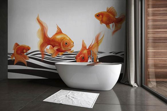 Papier peint poisson vague noire