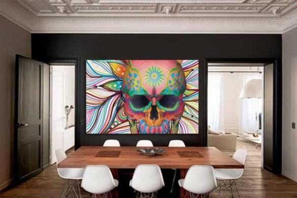 décoration mural design skull tête de mort mexicaine