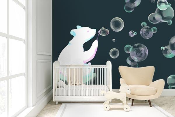 Papier peint chambre enfant Ours à bulles