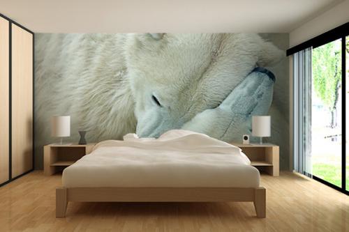 papier peint chambre ours calin