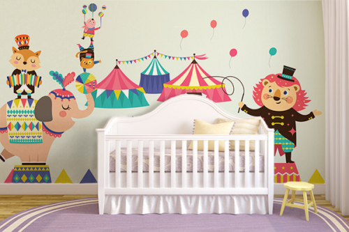 Papier peint chambre bébé Circus Paradise