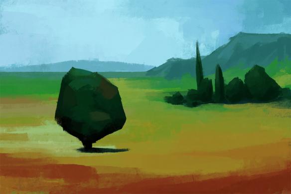 papier peint paysage panoramique plaine
