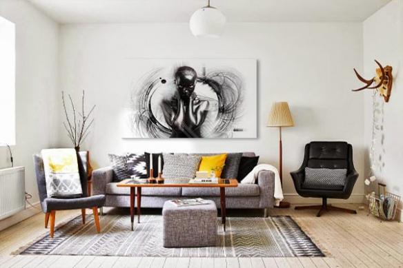 tableau art moderne noir desir
