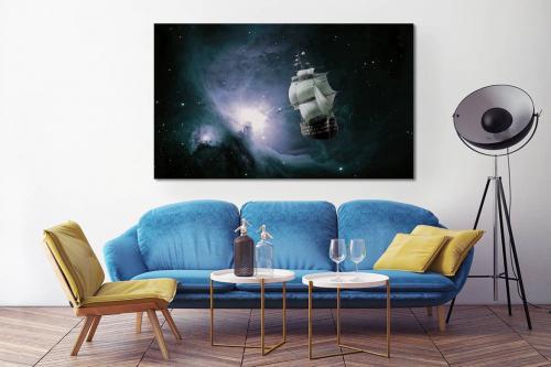 Toile décorative murale Bateau Galaxie