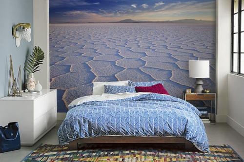 papier peint chambre bleu desert de sel