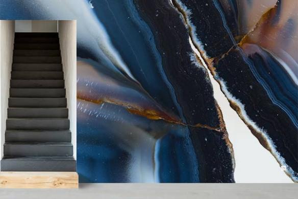 Papier peint haut de gamme Agate bleue