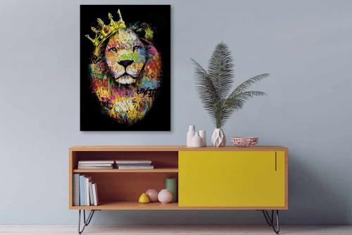 Tableau Lion Tag coloré
