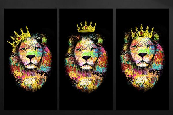 tableau multi panneaux lion tag color triptyque. Black Bedroom Furniture Sets. Home Design Ideas