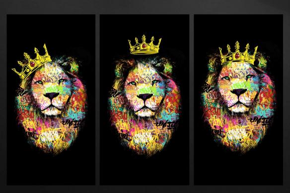 tableau multi panneaux lion graffiti jaune