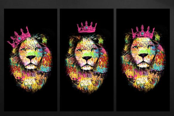 tableaux triptyque lion tag rose