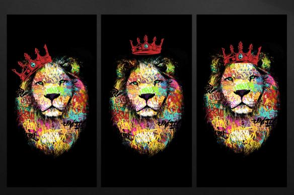 toile triptyque lion tag rouge
