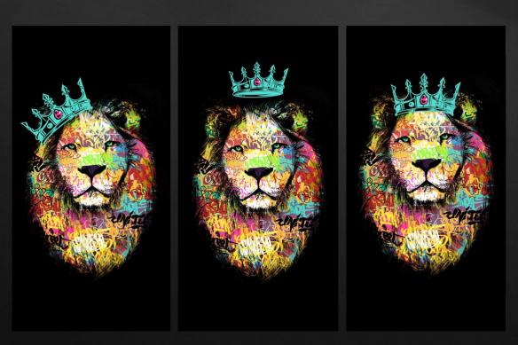 tableau lion triptyque bleu ciel