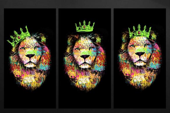 tableau triptyque moderne lion vert